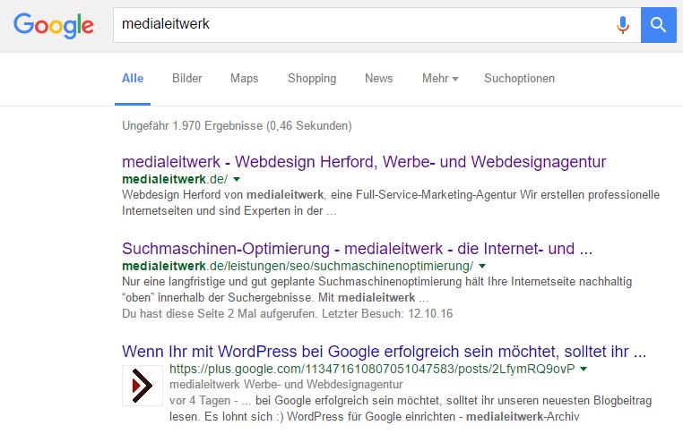 Ein Artikel bei Google Plus wird in den Suchergebnissen präsent dargestellt.
